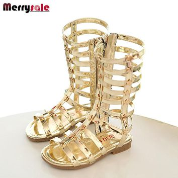 2017 female child sandals princess shoes high shoes cutout gladiator baby  boots girl s fashion sandals f7da4db27988