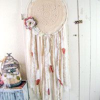 Large Boho Gypsy Dreamcatcher, Cream Glitter Dreamcatcher with Feathers, Wedding Decor Shabby Chic Nursery Decor Crochet Floral Wall Hanging
