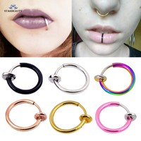 Starbeauty 2 pcs Hot Lip Piercing Fake Nose Ring Black Nose Rings Fake Piercing 10mm Labret Piercing Nose Clip Earrings Jewelry