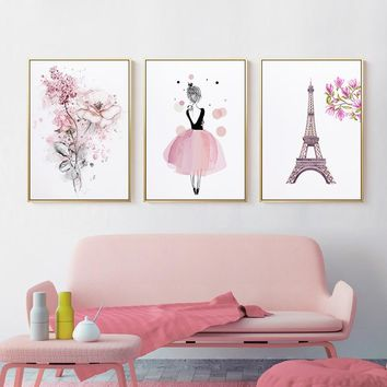 Nordic Pink Rose Ballet Girl Tower Canvas Painting Cute Posters And Prints For Living Room Pink Home Decor Wall Art Pictures