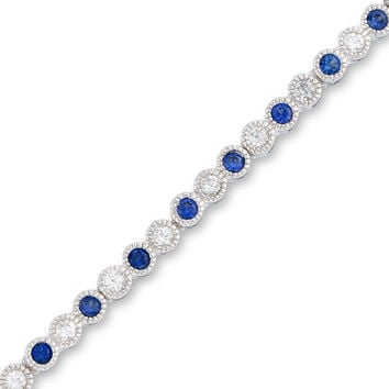 Lab-Created Blue and White Sapphire Tennis Bracelet in Sterling Silver - 7.25"