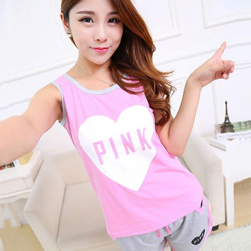 Summer Short Sleeved Pajamas Women Casual Leisure Shorts Floral Letter PINK cotton Back Patchwork 2 Piece Suit
