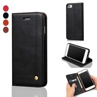 For iPhone 7 Case Magnet PU Leather Flip Phone Case For iPhone 7 7 plus Covers Fundas Coque With Card Slots Wallet Kickstand