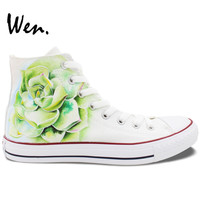 Wen Original Hand Painted Shoes Design Custom Succulent Plant White High Top Men Women's Canvas Sneakers for Gifts