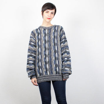 Vintage 90s Sweater Textured Jumper 1990s Sweater Soft Grunge Coogi Sweater Style Pullover Blue Gray Hipster Boho Oversized Knit L Large XL