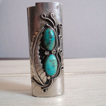 vintage sterling silver native american turquoise lighter case cover holder