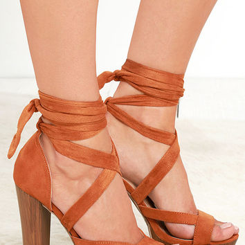 Groovin' On Whiskey Brown Suede Lace-Up Platform Heels