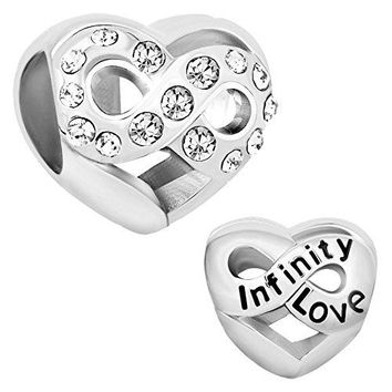 LovelyJewelry Infinity Love Heart Charms JANDEC Simulated Birthstone Synthetic Crystal Beads For Bracelet