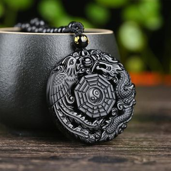 Lucky Pendant Black Necklace Natural Obsidian Carved Chinese Dragon Phoenix BaGua