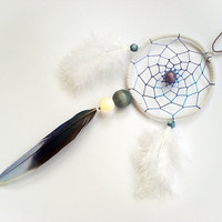 Dream catcher necklace white, blue, lilac, tribal necklace, wooden beads feather jewelry