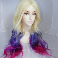 ON SALE // Purple Pink Ombre / Remy Human Hair 250 - 300g /  Long Straight Wavy Layered Wig Blonde
