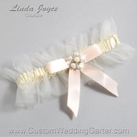 "Ivory and Nude Tulle Wedding Garter Bridal Garter ""Natalie"" Silver 871 Ivory 113 Nude Prom Luxury Garter Plus Size & Queen Size"
