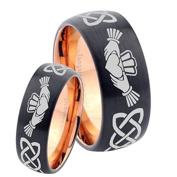 His Hers Irish Claddagh Dome Tungsten Rose Gold Mens Wedding Band Set