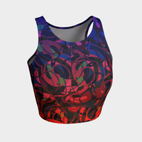 Hot Summer Nights Abstract - Blue and Deep Red Athletic Crop Top