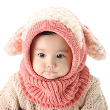 LASPERAL Brands Beanie Baby Girl Boys Autumn Winter Warm Knitted Cap Animal Cute Woolen Puppy Ears Cashmere Shawl Hat Kids Child