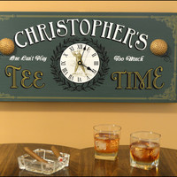 Personalized Tee Time Clock Vintage Style Sign