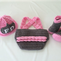 Baby Girl Firefighter Fireman Hat Outfit - 4pc Crochet Diaper Cover Set w/Ruffled Bottom Susp & Boots - Newborn- Photo Prop-Baby Shower Gift