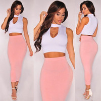 White Cut-Out Crop Top and Pink Midi Skirt