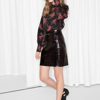& Other Stories | Croco Leather Skirt | Black