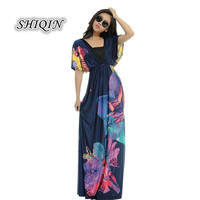 Women V-Neck Floral Printing Bohemia Maxi/Long Summer Beach Women Dress Plus Size M-6XL = 1958434564