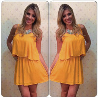 Yellow Strappy Crop Top and Pleated Mini Skirt Two-Piece Dress