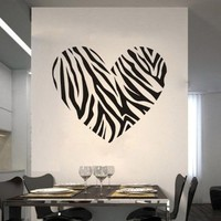 "Zebra Print Stripe Heart Wall Art Decal Sticker Decor Mural DIY Vinyl Girls Room 23.6"" X 25.6"""