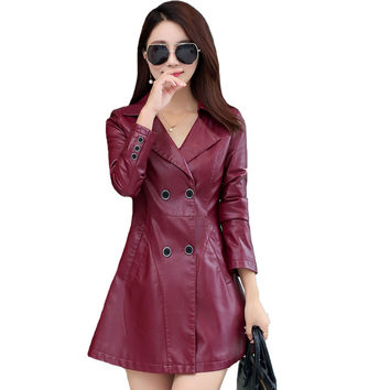 Double Breasted Red Leather Jacket Women Plus Size 5XL Faux Leather Clothing 2017 Female Outerwear Ladies PU Jackets And Coats