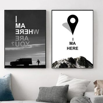 Mountain Car Nordic Poster Black White Canvas Painting Wall Art Print Motivational Landscape Wall Pictures For Living Room Decor