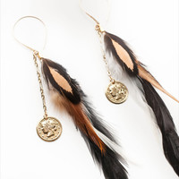 14k Gold Coin Dime Hen Dangle Bead White Brown Tan Rooster Feathers Wire Earrings Native Stone Fashion Womens Boho Jewelry Item A10