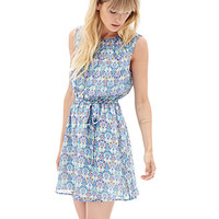 LOVE 21 Fan Print Sun Dress Cream/Aqua