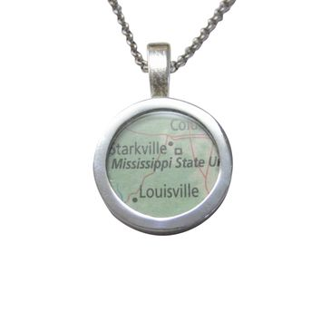 Mississippi State University Map Pendant Necklace