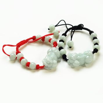 AAA Natural Jadeite Bracelet 2017 New Cute Handmade Weave Carved PIXIU With Round Beads Lover's Bangles Gift  Jades Jewelry