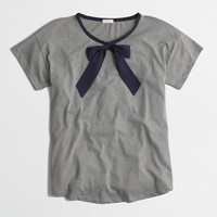 Factory rolled-sleeve tee with bow