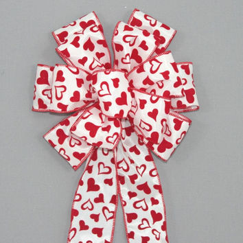 Red Flocked Hearts Valentine's Day Bow