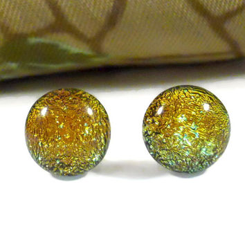 Sparkling Yellow Gold Dichroic Glass Earrings, Sterling Silver Jewelry, Gift For her