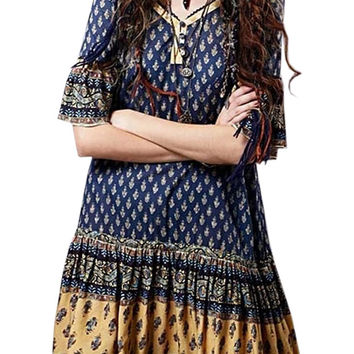 Ethnic Flouncing Half Sleeve Midi Dress