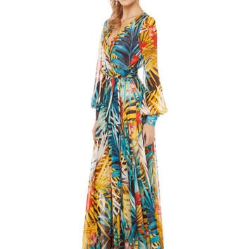 Bohemian V-neck Floral Bishop Sleeve Chiffon A-Line Pleated Maxi Dress