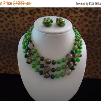 Now On Sale Vintage Green Lucite Demi Parure 1950's 1960's Signed Japan Collectible Necklace Earring Set Mad Men Mod Retro Chunky Wide Black