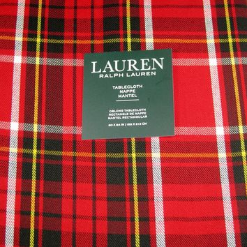 """Ralph Lauren Tartan Plaid Tablecloth 60"""" x 84""""  Red / Black / Yellow / White New in Package"""
