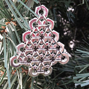 Christmas ornament, Hex nut Christmas tree , chainmaille ornament, metal Christmas ornament, industrial decor, holiday ornament, unique gift