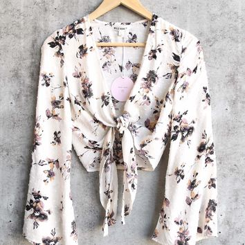 Wild Honey   Long Sleeve Floral Crop Top With Waist Tie   Ivory