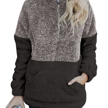 Women Gray Taupe Zip Neck Oversize Fluffy Fleece Pullover