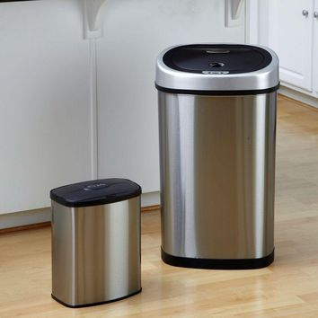 Set of 2 - Stainless Steel Touchless Trash Cans in 2 and 13 Gallon sizes