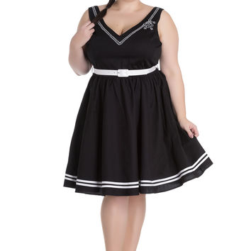 Hell Bunny Plus Size Pin-up Sailor Anchor & Rope V-neck Ariel Black Flare Dress