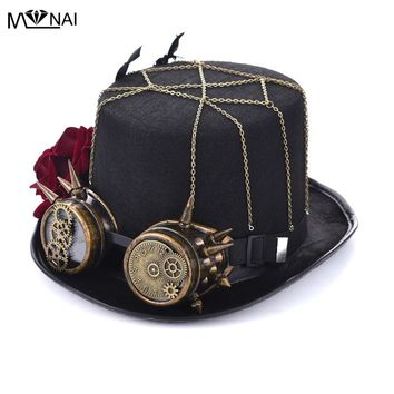 Handmade Cosplay Hat Vintage Women Steampunk Rose Top Hats With Goggles Retro Costumes Accessories