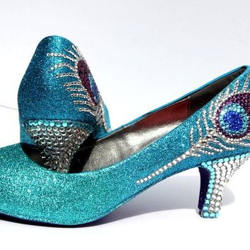 Crystal Peacock Feather Heels (3 Inch)