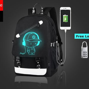 Canvas travel backpack with USB Charging port, Fashion Glow Backpack Laptop backpack, tactical backpack, Shoulder Day backpack for Men, Women, Boys, Girls, Teen