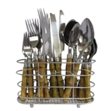Bamboo 22 PC Flatware Set with Caddy Dorm Stuff Supplies College Eating Utensils Silverware Cheap