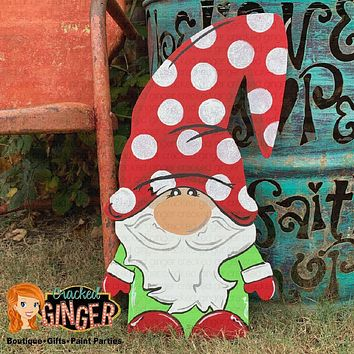 GNOME FOR THE HOLIDAYS Wooden Door Hanger