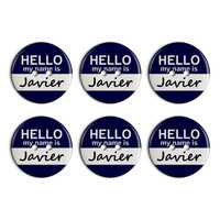 Javier Hello My Name Is Plastic Resin Button Set of 6